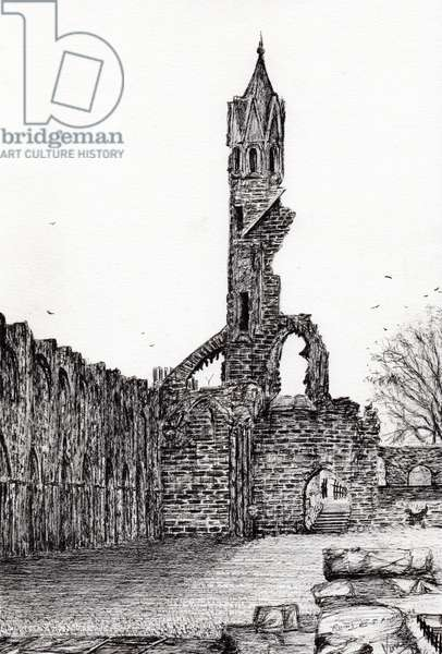 Ruin at St.Andrews, 2006 (ink on paper)