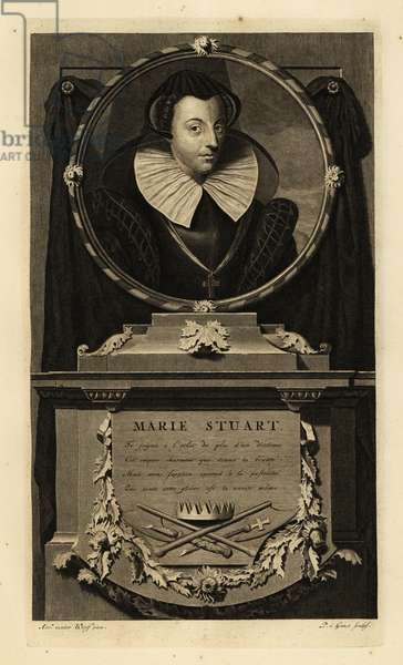 Mary Queen of Scots, Mary I of Scotland, Mary Stuart, Marie Stuart. Plaque with crown, broken sceptre, thistles and axe signifying execution. Copperplate engraving by Pieter Stevens van Gunst after Adriaen van der Werff from Isaac de Larrey's Histoire d'Angleterre, d'Ecosse et d'Irlande, Amsterdam, 1730.
