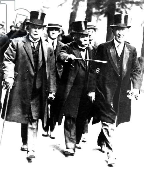 Lloyd George of UK, Clemenceau of France & Woodrow Wilson, President of US stroll down Champs Elysees for Paris Peace Conference, 1919.