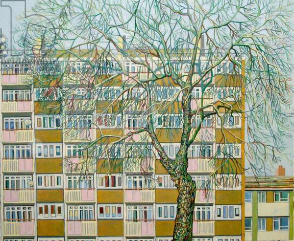 Canning Town Winter, (oil on canvas)