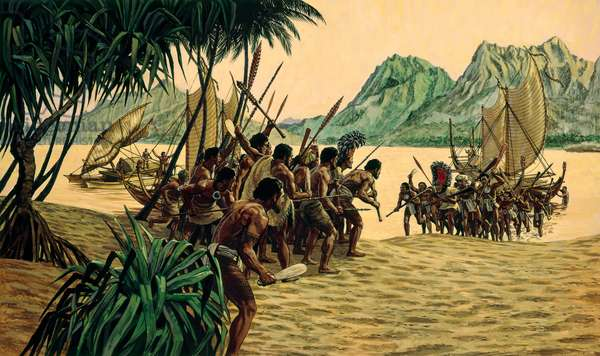 A Tahitian chief storms ashore at Rarotonga to battle his brother (colour litho)