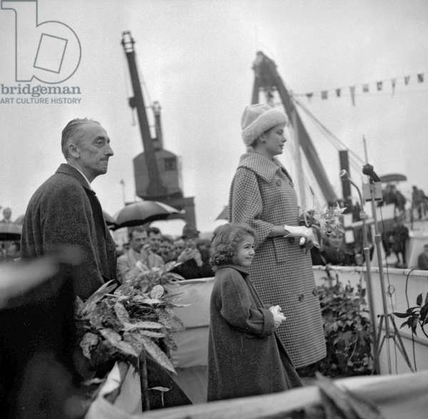"""Launching of """"Amphitrite"""", the new boat of Jacques-Yves Cousteau in Nice, December 11, 1960 : Jacques Yves Cousteau and the Princess Grace of Monaco (b/w photo)"""