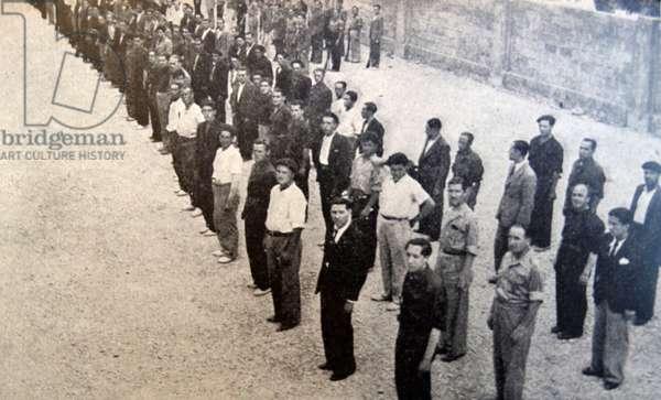 Falangist prisoners during the Spanish Civil War