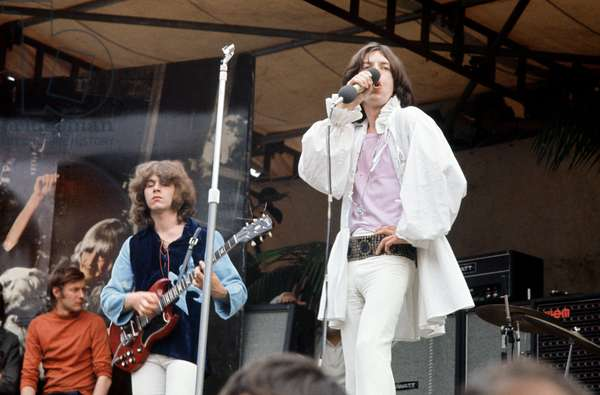 Mick Jagger on stage during the Rolling Stones free concert in Hyde Park.  5th July 1969