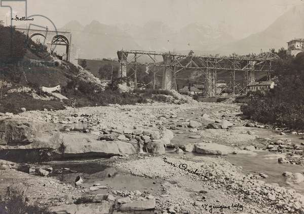 """Italo Austrian War 1915-1918"": rubble of a bombed bridge over the stream Ardo, 17/06/1919 (b/w photo)"