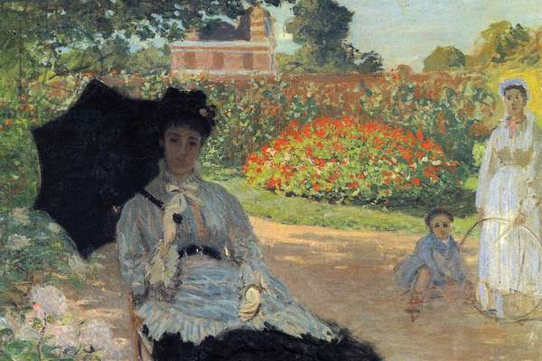 Camille in the garden with Jean and his nanny (oil on canvas)