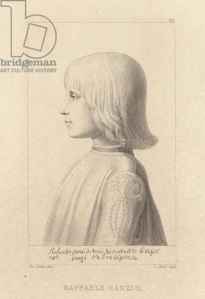 Portrait of the artist Raphael as a young boy (engraving)