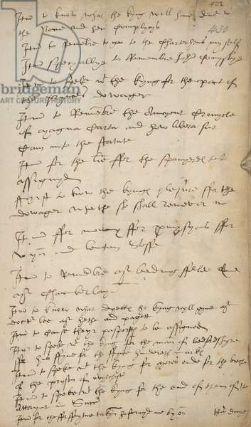 List of 'Rememberances' drawn up by Thomas Cromwell (ink on paper)