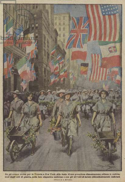 Un pit oresco corteo per la Vittoria a New York (colour litho)