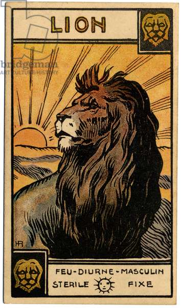 Paranormal. Astrology. Leo (the Lion). Astrologic card from: Le Tarot Astrologique (Astrological Tarot), by Georges Muchery, France, 1927