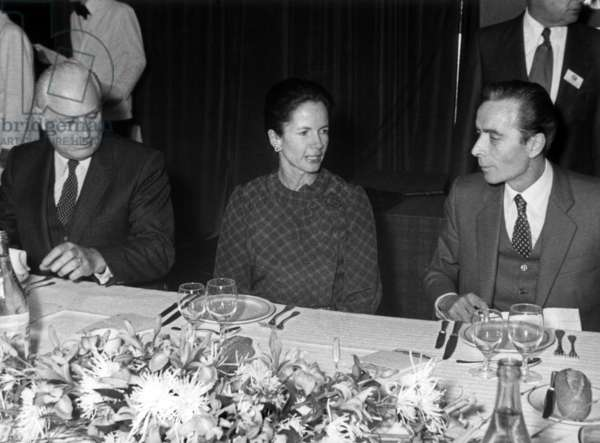 Andre Giraud, Minister of Industry, Anne Aymone Giscard D'Estaing and Maurice Charretier February 3, 1981 (b/w photo)