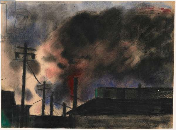 Pittsburgh Factory Scene, 1915-20 (pastel & charcoal)