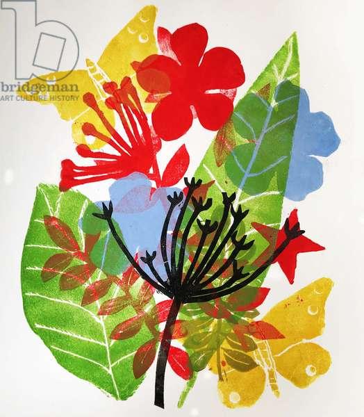 Seedheads and flowers, 2019 (ink monoprint)