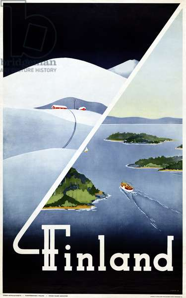 TRAVEL POSTER, c.1948 Poster promoting tourism in Finland, c.1948.