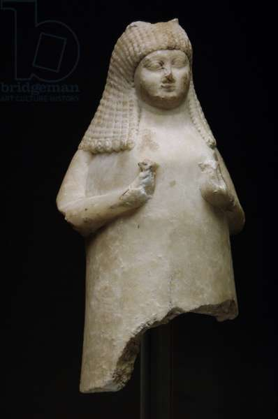 Mesopotamian Art, Alabaster flower vase shaped as a woman holding flowers, between 700-600 BC