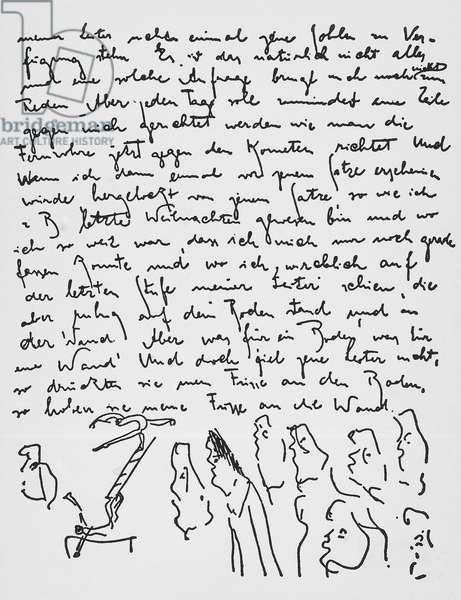 Page from the original diary with sketches by Franz Kafka (1883-1924), Bohemian writer