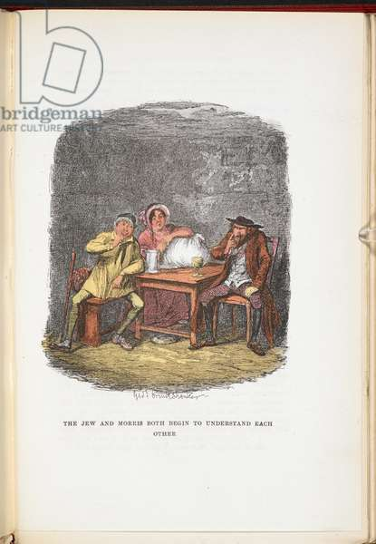 The Jew and Morris both begin to understand each other, from The Adventures of Oliver Twist ... With twenty-four illustrations by Cruikshank, 1911 (colour litho)