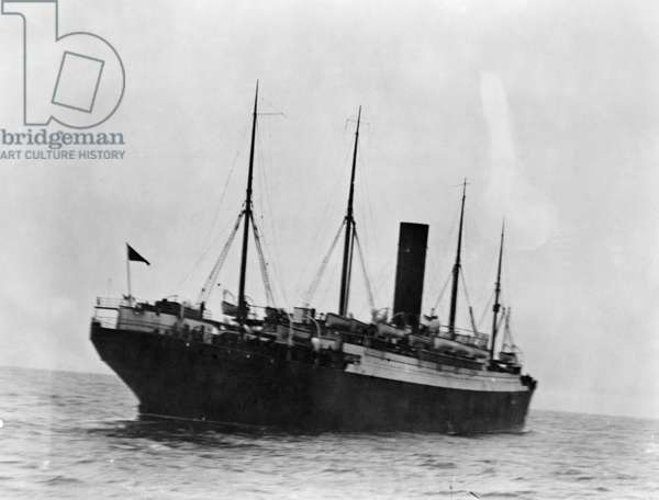 TITANIC: THE CARPATHIA, c.1912 The rescuing liner 'Carpathia,' which came to the aid of survivors of the 'Titanic.' Photographed c.1912.