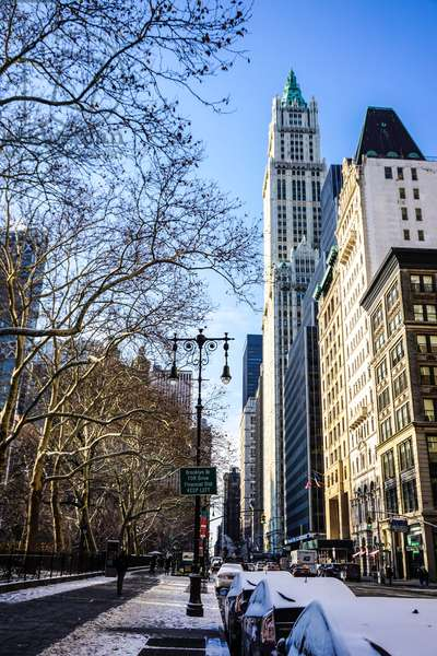 View down Broadway, Woolworth Building and City Hall Park, Lower Manhattan, New York City (photo)