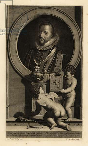 James VI of Scotland, James I of England, James Charles Stuart. Jacques Premier. In lace ruff collar, coat and doublet, sash with figure of St. George and the dragon. Two putti assemble a coat of arms below a crown. Copperplate engraving by Pieter Stevens van Gunst after Adriaen van der Werff from Isaac de Larrey's Histoire d'Angleterre, d'Ecosse et d'Irlande, Amsterdam, 1730.