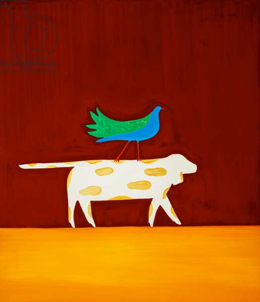 Dog and bird,1998,(oil on linen)