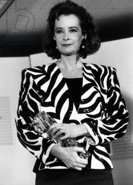 Dominique Lavanant at Ceremony of Cesars March 14, 1988 With Cesar For Best Supporting Actress (b/w photo)