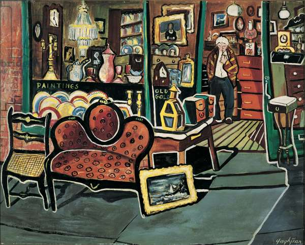 Gervais St. Antique Shop, 1950s (oil on board)