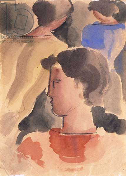 Group with red boy; Gruppe mit rotem knaben, 1931 (watercolour, crayon and pencil on paper)
