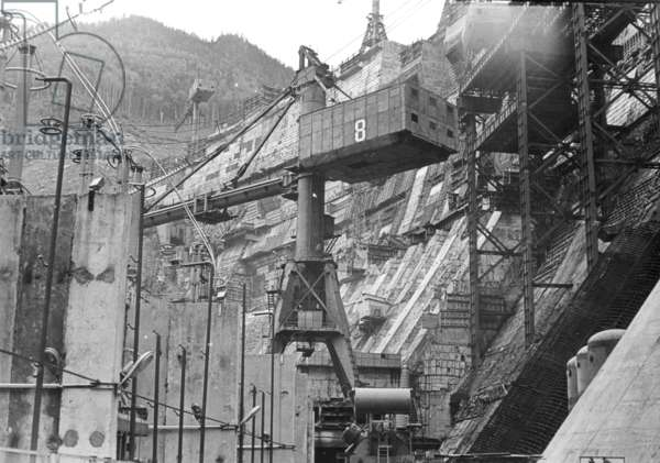 Construction under way, Sayano–Shushenskaya Hydro Power Plant, Russia, 1970s (b/w photo)