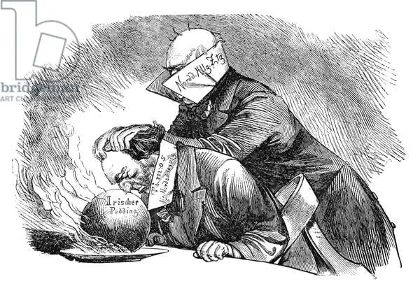 PRINCE OTTO von BISMARCK (1815-1898). Prince Otto von Bismarck-Schonhausen. Cartoon, 1884, showing Bismarck aggressively calling on the London 'Times' to attend to its own affairs and stop criticizing his actions.