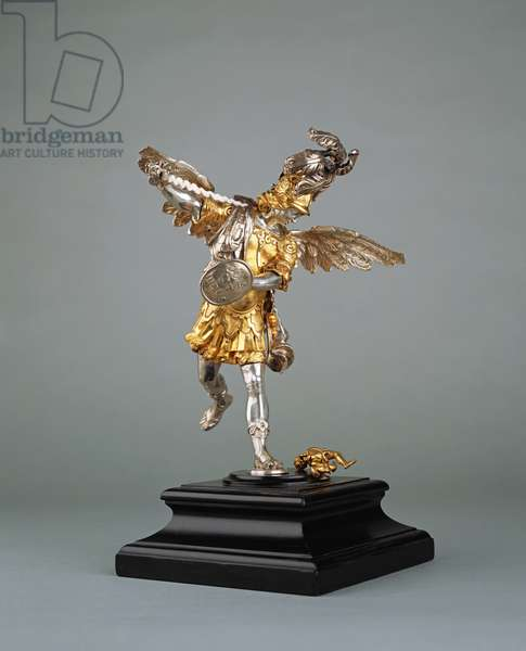 Saint Michael the Archangel, c.1700 (silver & gilt bronze on granite base)