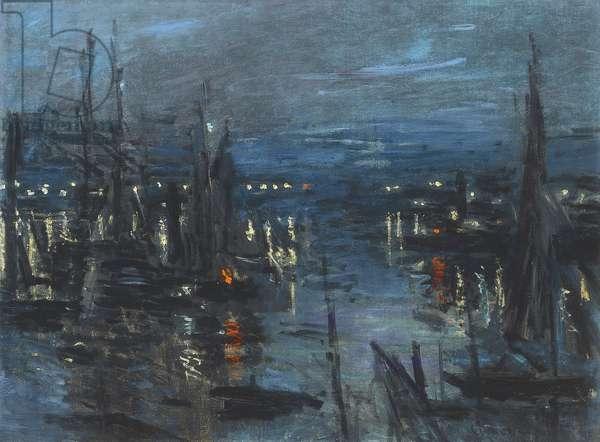 The Port of Le Havre, Night Effect; Le Port de Havre, effet du Nuit, 1873 (oil on canvas)