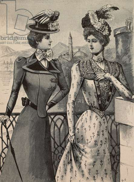 Woman wearing travelling dress with velvet lapels and boater hat, woman wearing taffeta chine summer dress, Louise Piret designs, engraving from La Mode Illustree, No 19, May 7, 1899