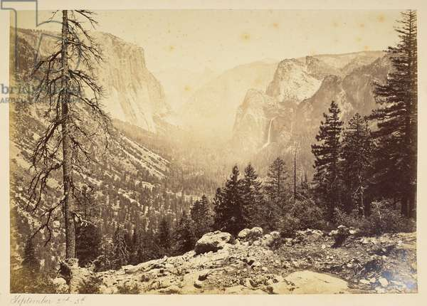 Yosemite Valley from Inspection Point, 1870-79 (b/w photo)
