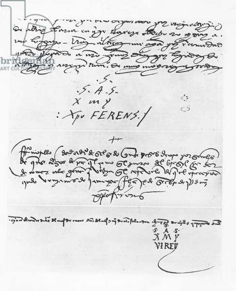 Three signatures of Christopher Columbus (litho)