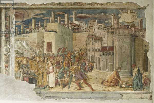 Taking of Perugia by Totil and beheading of St. Herculaneum, 1455-61 (fresco)