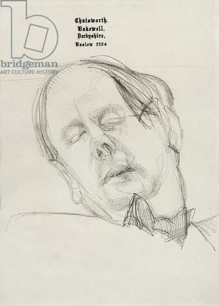 Man Sleeping (Andrew Cavendish, 11th Duke of Devonshire), c.1967 (pencil on Chatsworth headed paper)