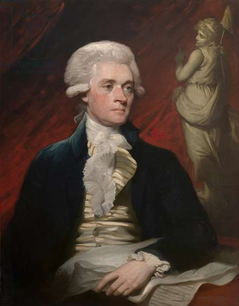 Thomas Jefferson in 1785 portrait by British American artist Mather Brown. Jefferson sat for this portrait in London, during a visit he made to John and Abigail Adams. Adams and Jefferson were the US ambassadors to Britain and France, respectively (oil on canvas)