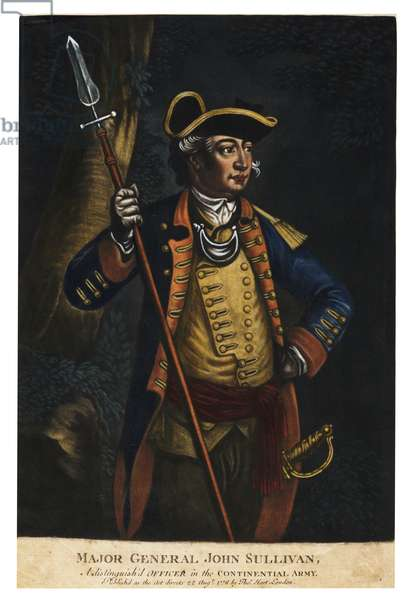 Major General John Sullivan, 1776 (hand-coloured  mezzotint)