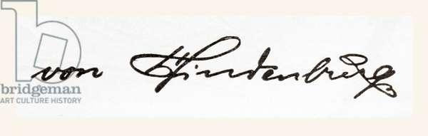 Signature of Paul Ludwig Hans Anton von Beneckendorff, aka Paul von Hindenburg, from Meyers Lexicon, pub. 1924