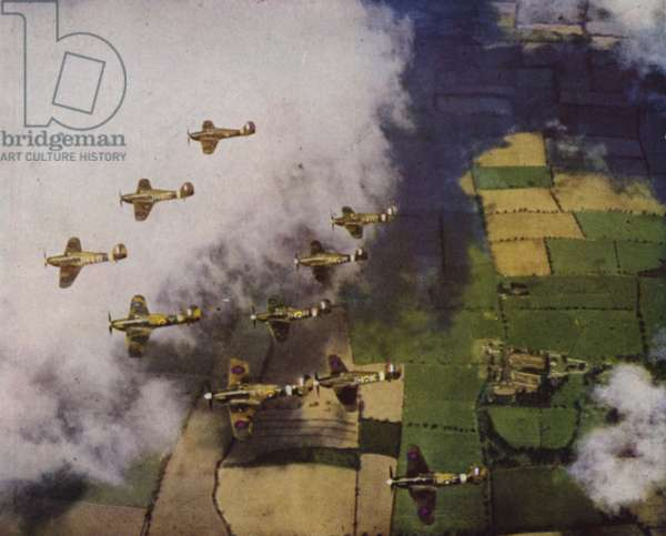 Formation of British Hawker Hurricane fighter aircraft heading to occupied France for a 'Channel sweep', a raid on German airfields, World War II, 1941 (photo)