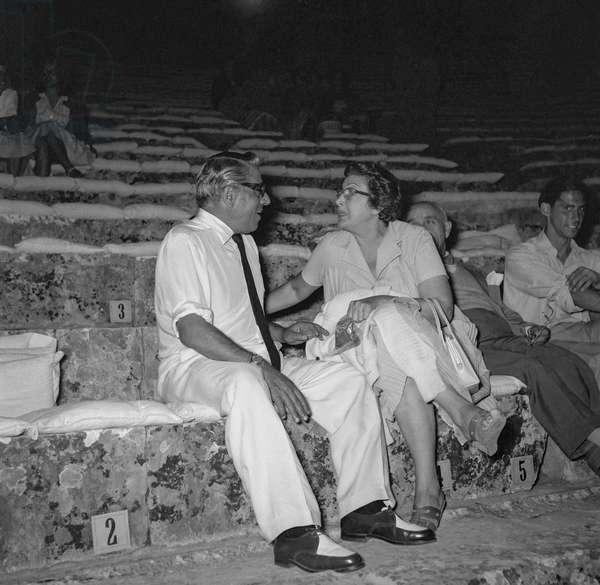 Aristotle Onassis and Greek actress Katina Paxinou, August 28, 1960 (b/w photo)