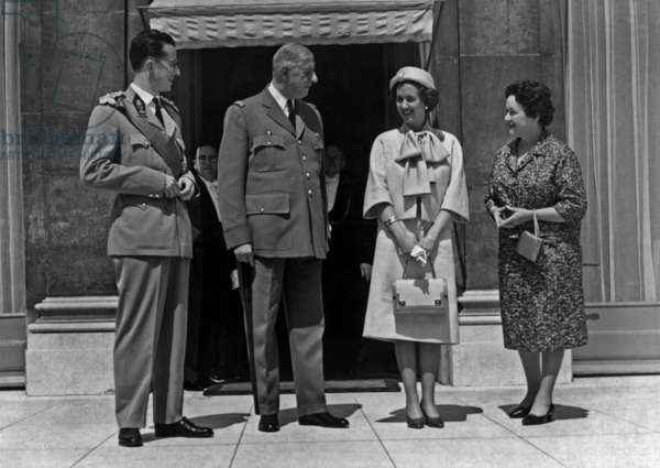 King Baudouin 1st of Belgium, French President Charles de Gaulle, Queen Fabiola, Mrs Yvonne de Gaulle at Elysee palace, Paris, May 24, 1961