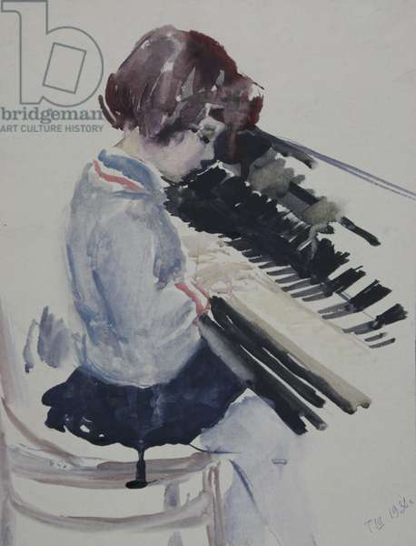 Girl at the Piano, 1936 (gouache on paper)