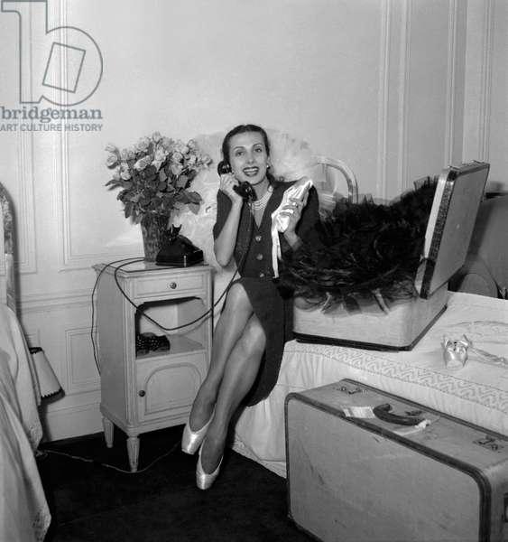 Dancer Tamara Toumanova at her hotel in Paris, September 21, 1949 (b/w photo)