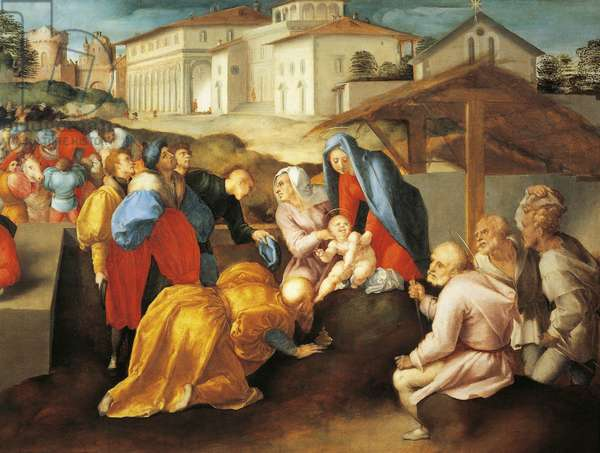 Detail of central part of Adoration of Magi or Epifania Benintendi, by Jacopo da Pontormo (1494-1557)