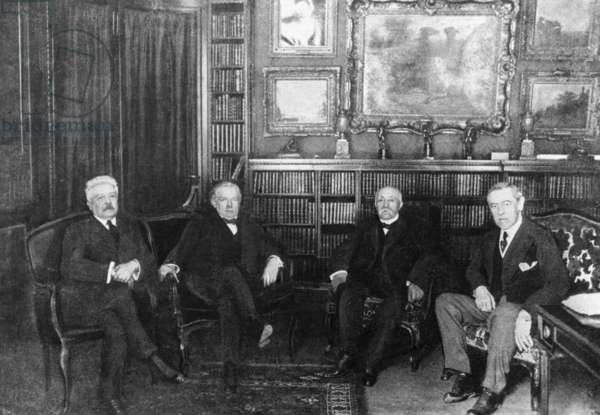 Vittorio Emanuele Orlando, David Lloyd George, Georges Clemenceau and Woodrow Wilson, 1919 (b/w photo)