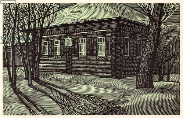 Shushenskoe, Lenin's lodging in 1897-1898., 1969 (linocut)