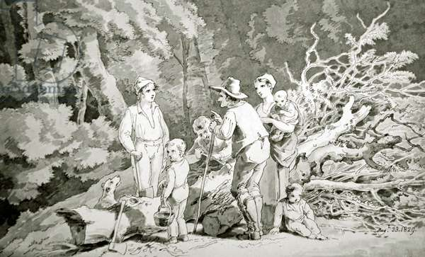 The Woodcutter's Family, 1829 (pen & ink with w/c on paper)