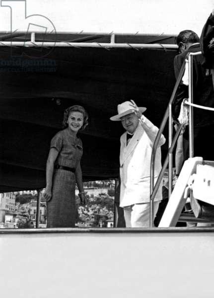 Sir Winston Churchill and Tina Onassis on board the yacht Christina, Monte-Carlo, September 1958 (b/w photo)